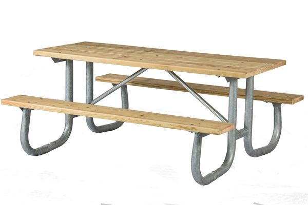 Ft Rectangular Wooden Picnic Table With Welded Galvanized - Metal wood picnic table