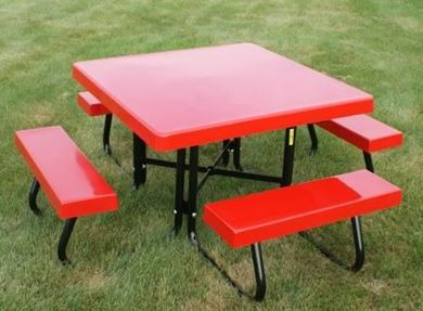"Picnic Tables 48"" Square Fiberglass Picnic Table with Powder Coated"