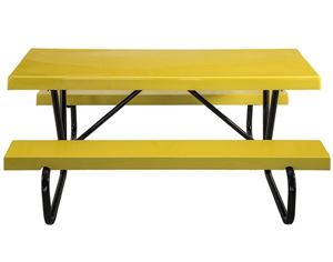 Picnic Tables 6 ft Rectangular Fiberglass Picnic Table with Bolted Galvanized Steel