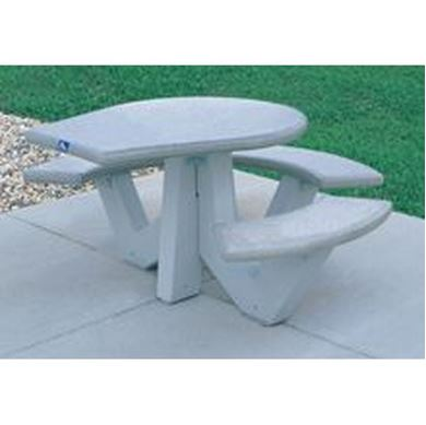 "38"" ADA Concrete Round Picnic Table Wheelchair Accessible with Bolted Concrete Frame, 860 lbs."