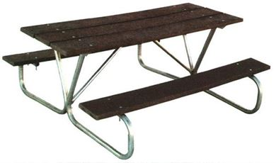 8 foot Rectangular Recycled Picnic Table