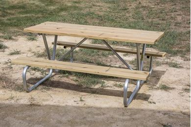 6 ft Rectangular Wooden Picnic Table with Bolted Galvanized Tube Frame