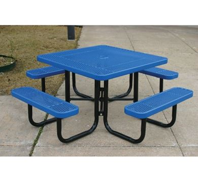 Square Thermoplastic Steel Picnic Table Ultra Leisure