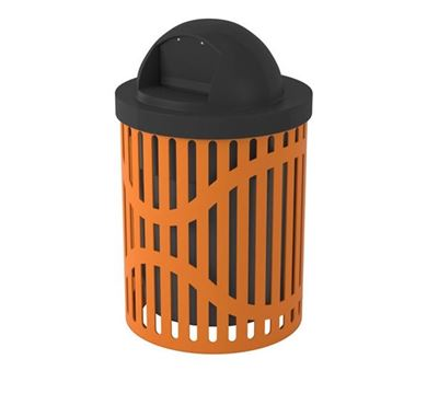 32 Gallon Textured Polyethylene Coated Trash Receptacle with Lid