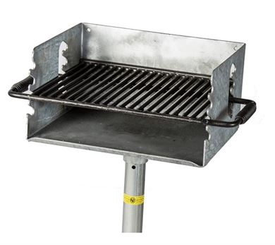 "300 Square Inch Park Grill, Flip Style, Galvanized Welded Steel with 2 3/8"" Pedestal In-Ground Mount"