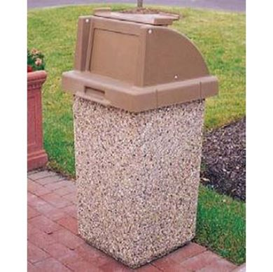 commercial trash can concrete
