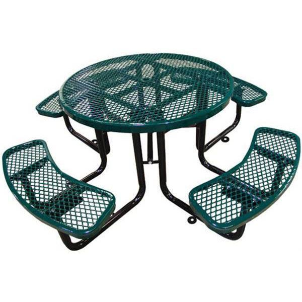 Round Picnic Table Plastic Coated Expanded Metal With