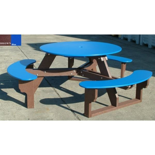 Round Recycled Plastic Picnic Table With Easy Access Lbs - Recycled plastic round picnic table