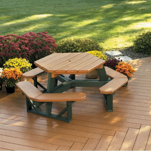 Hexagon Recycled Plastic Picnic Table With Six Bench Seats