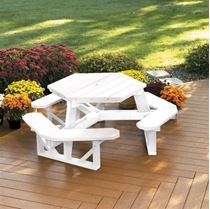 Hexagon Recycled Plastic White Picnic Table