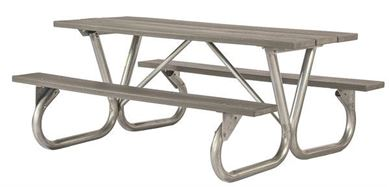 """6 ft. Rectangular Recycled Plastic Picnic Table with Bolted 2 3/8"""" Galvanized Tube"""