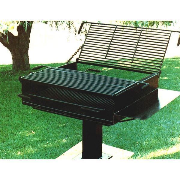 1368 Square Inch Group Park Grill Welded Steel 6 Pedestal Surface Mount 196 Lbs A