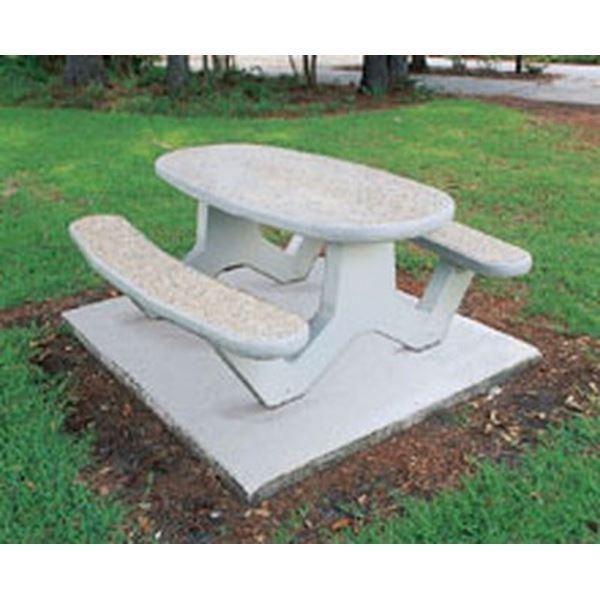 6 Ft Concrete Oval Picnic Table With Bolted Concrete
