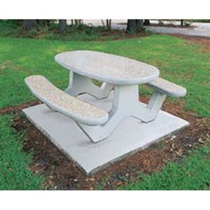 Ft Concrete Oval Picnic Table With Bolted Concrete Frame - Commercial outdoor picnic table store