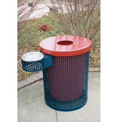 32 Gallon Plastic Coated Trash Receptacle with Ash Top
