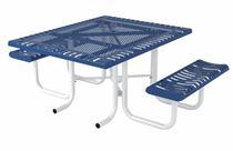 ADA Compliant Wheelchair Accessible Square Thermoplastic Steel Picnic Table Classic Style