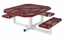 ADA Wheelchair Accessible Octagonal Thermoplastic Steel Picnic Table Rolled Regal Style