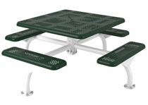 Square Thermoplastic Steel Picnic Table, Perforated Style
