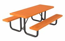 Rectangular Thermoplastic Steel Picnic Table, Infinity Style