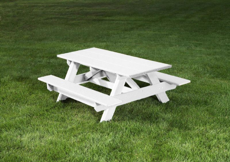 6 Ft White Recycled Plastic Picnic Table Rectangular