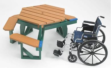 ADA Compliant Wheelchair Accessible Hexagon Recycled Plastic White Picnic Table