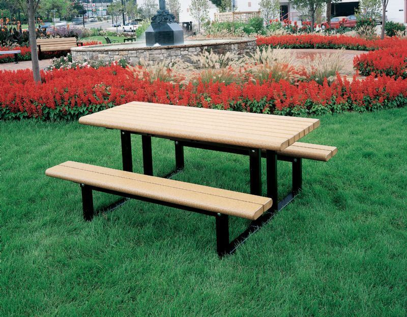 Elegant 6 Foot Recycled Plastic Rectangular Commercial Picnic Table