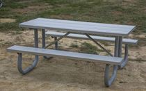 12 ft Rectangular Aluminum Picnic Table with Welded Galvanized Steel