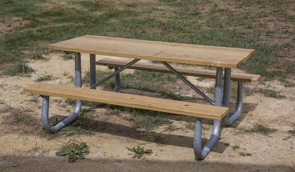12 Ft Rectangular Wooden Picnic Table With Welded 2 3 8
