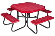 "48"" Octagonal Fiberglass Picnic Table with Galvanized Frame"