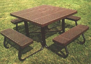 "48"" Square Plastisol Picnic Table with Galvanized Steel Frame"