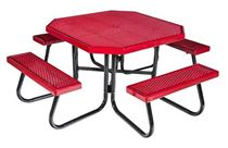 "48"" Octagonal Plastisol Picnic Table Galvanized"