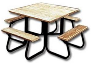 Square Wooden Picnic Table With Powder Coated Picnic Table - Commercial outdoor picnic table store