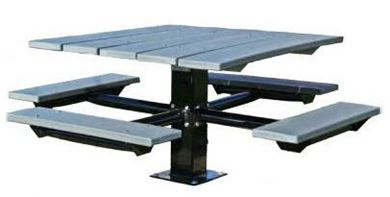 "48"" Single Post Square Aluminum Picnic Tables Galvanized 6"" In-ground Pedestal"