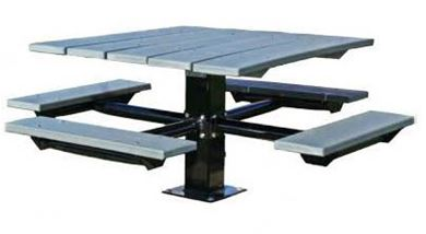 "Picnic Tables 48"" Single Post Square Recycled Plastic Picnic Tables with Galvanized 6"" In ground Pedestal"