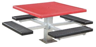 "48"" Single Post Square Plastisol Picnic Tables with Galvanized 6"" In-ground Pedestal"