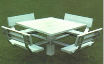 "48"" Single Post Square Aluminum Picnic Tables with Galvanized 6"" In-ground Pedestal"