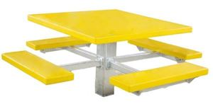 "48"" Single Post Square Fiberglass Picnic Tables with Galvanized 6"" In-ground Pedestal"