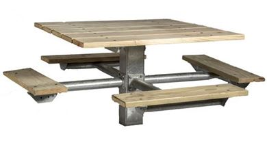 "48"" Single Post Square Wooden Picnic Table with Galvanized 6"" In-Ground Pedestal"