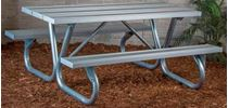 "6 ft. Rectangular Aluminum Picnic Table with Galvanized Bolted 2 3/8"" Frame"