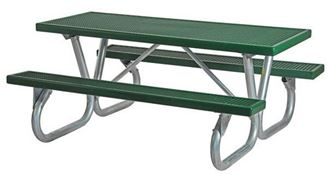 6 ft. Rectangular Plastisol Picnic Table with Bolted Galvanized Frame