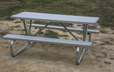 "6 ft. Rectangular Aluminum Picnic Table Bolted 1 5/8"" Galvanized Tube Frame"