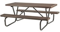 6 ft Rectangular Plastisol Picnic Table with Bolted Galvanized Tube