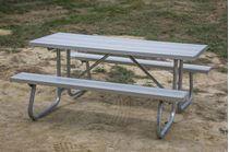 6 ft Rectangular Aluminum Picnic Table Welded Galvanized Steel CJ