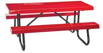 6 ft Rectangular Fiberglass Picnic Table Welded Galvanized Steel