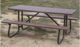 6 ft Rectangular Recycled Plastic Picnic Table Welded Galvanized Steel