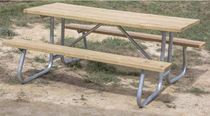 "6 ft. Rectangular Wooden Picnic Table with Welded 1 5/8"" Galvanized Steel"