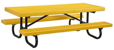 6 ft Childrens Rectangular Plastisol Picnic Table Galvanized Steel Frame