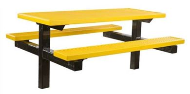 6 ft Rectangular Plastisol Picnic Table In-Ground Mount