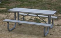6 ft Rectangular Aluminum Picnic Table Galvanized Steel