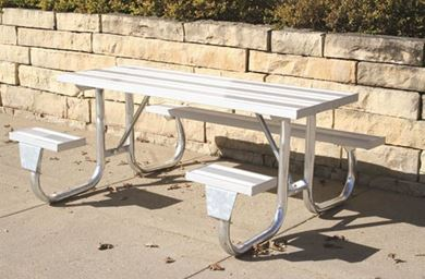 6 ft ADA Wheelchair Accessible Aluminum Picnic Table Galvanized Steel Frame